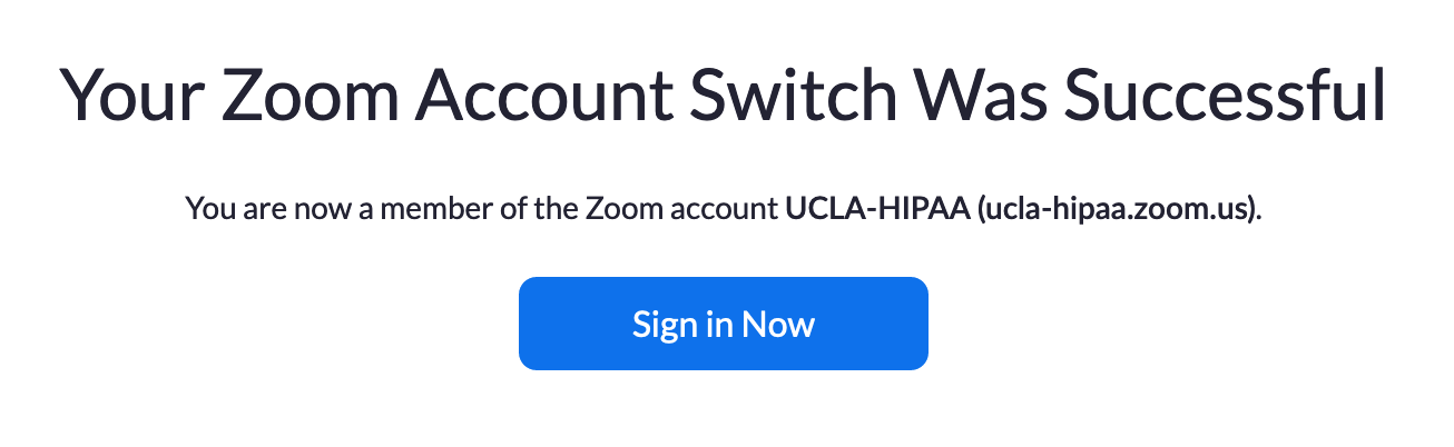Switch to the new Zoom account screen.
