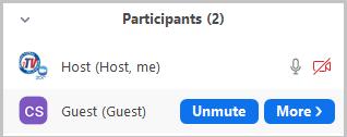 Allow participant to unmute button
