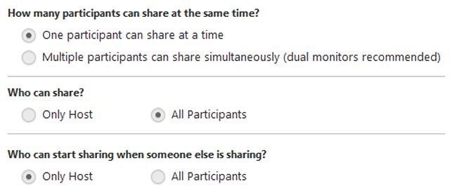 screenshot of meeting settings