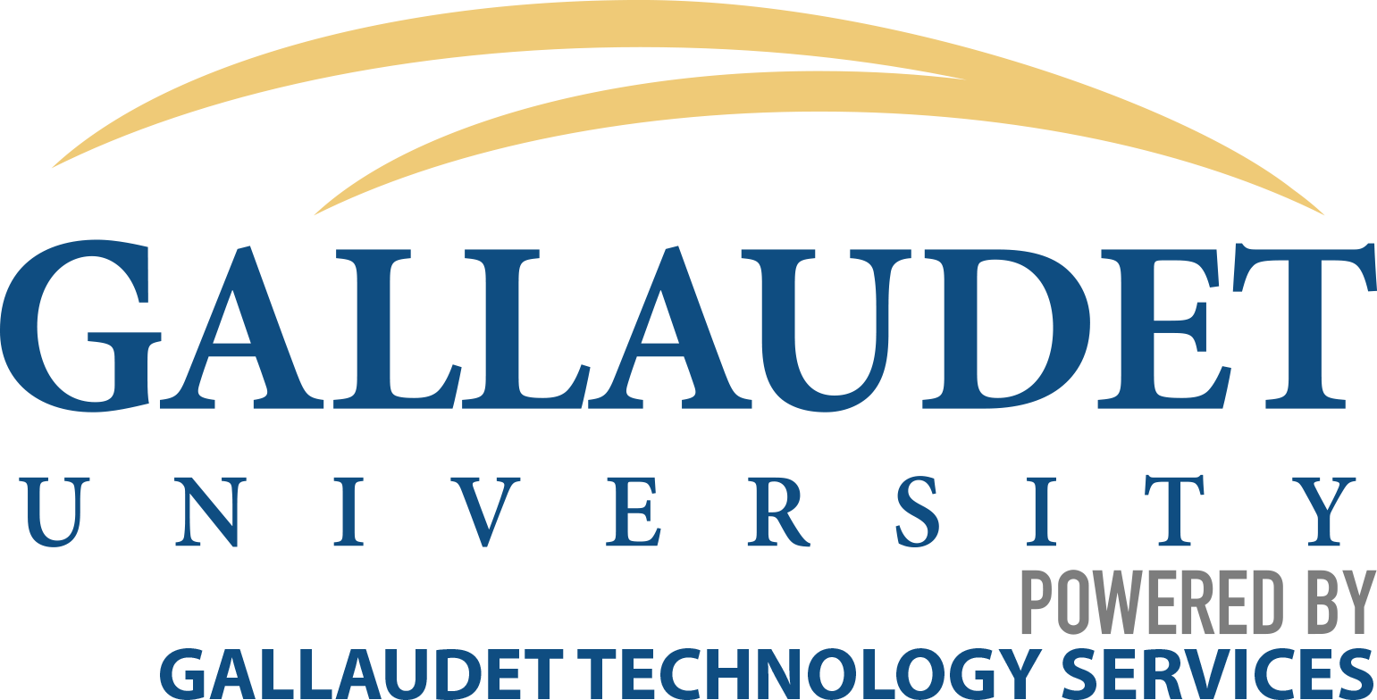 Gallaudet University logo, with a blue background, buff double swoosh and white lettering with text below the logo Powered bu Gallaudet Technology Services