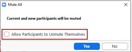 Uncheck self unmute option