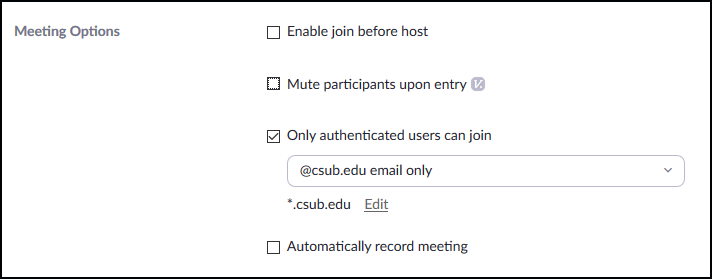authenticate domain setting