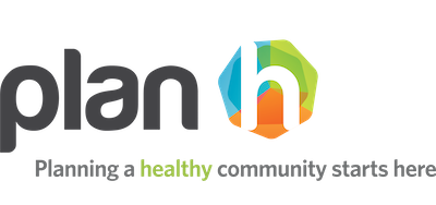 "A modern lettering of lowercase ""plan"" in charcoal grey next to a heptagon that is divided into 3 equal segments of orange, blue and green, with a white ""h"" superimposed on top. Underneath is written the tagline ""Planning a healthy community starts here""."