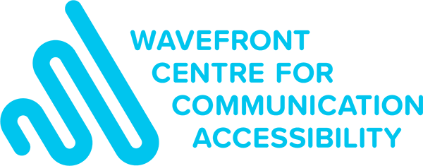 Wavefront Centre logo with and upward trending line from left to right. Wavefront Centre for Communication Accessibility spelled out next to the line.