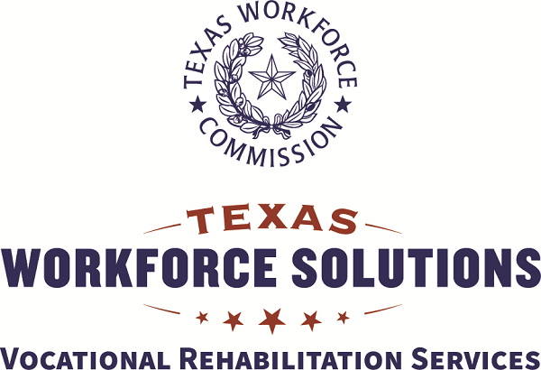 Logos for Texas Workforce Commission and Texas Workforce Solutions Vocational Rehabilitation Services