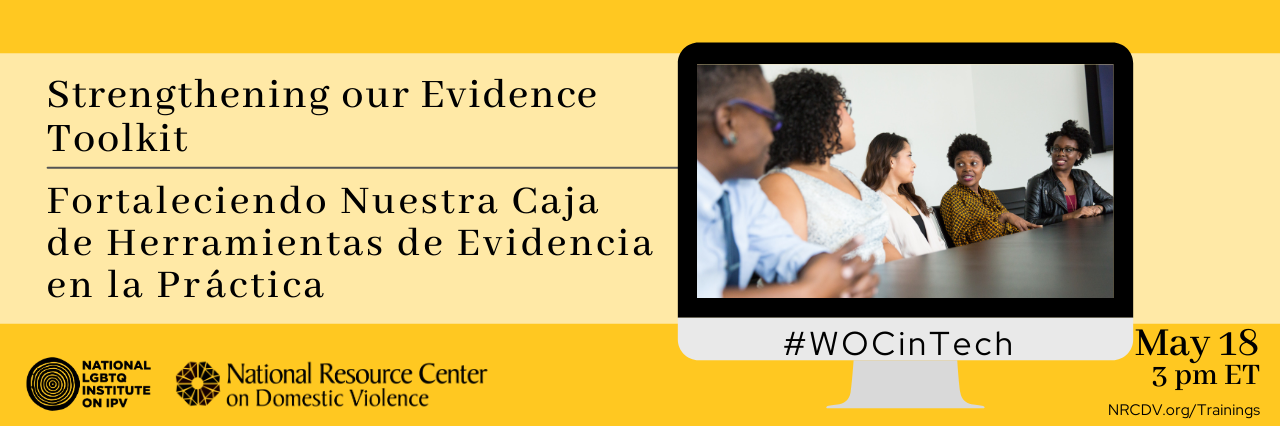 Title image for the webinar containing the title and date of the webinar in black text on a yellow background with a computer screen displaying an image of black and brown women meeting in a board room with the hashtag #WOCtech