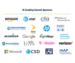 Event Sponsors logos: Amazon, ATiA, ctia, JP Morgan Chase Co., Crawford Technologies, Sprint Accessibility, HP, eSSENTIAL Accessibility, Accenture, Google, RightHear, Consumer Technology Association, AccessibilityShield, Level Access, TMobile, CSD, Izone