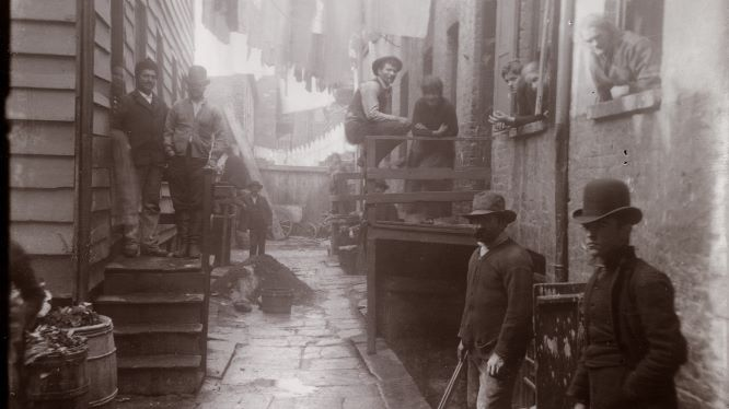 Jacob A. Riis, Bandits' Roost, 1887 - 1888; reproduction on modern gelatin printing out paper, original 5 x 4 inches; From the Collection of the Museum of the City of New York , 90.13.4.104