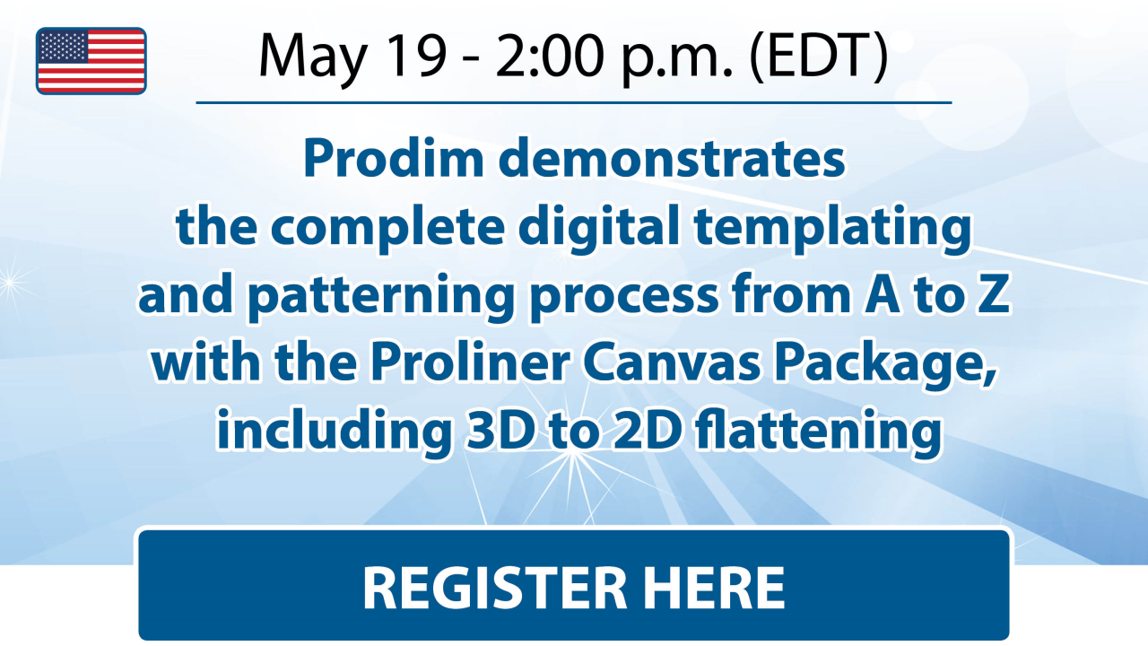 Prodim demonstrates the complete digital templating and patterning process from A to Z with the Proliner Canvas Package, including 3D to 2D flattening.
