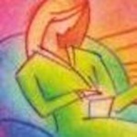 A colorful abstract picture of a therapist with her hand extended.