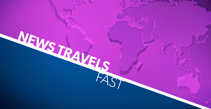 Image: Festival themed graphic with the title News Travels Fast and a stylized 'news desky' world map.
